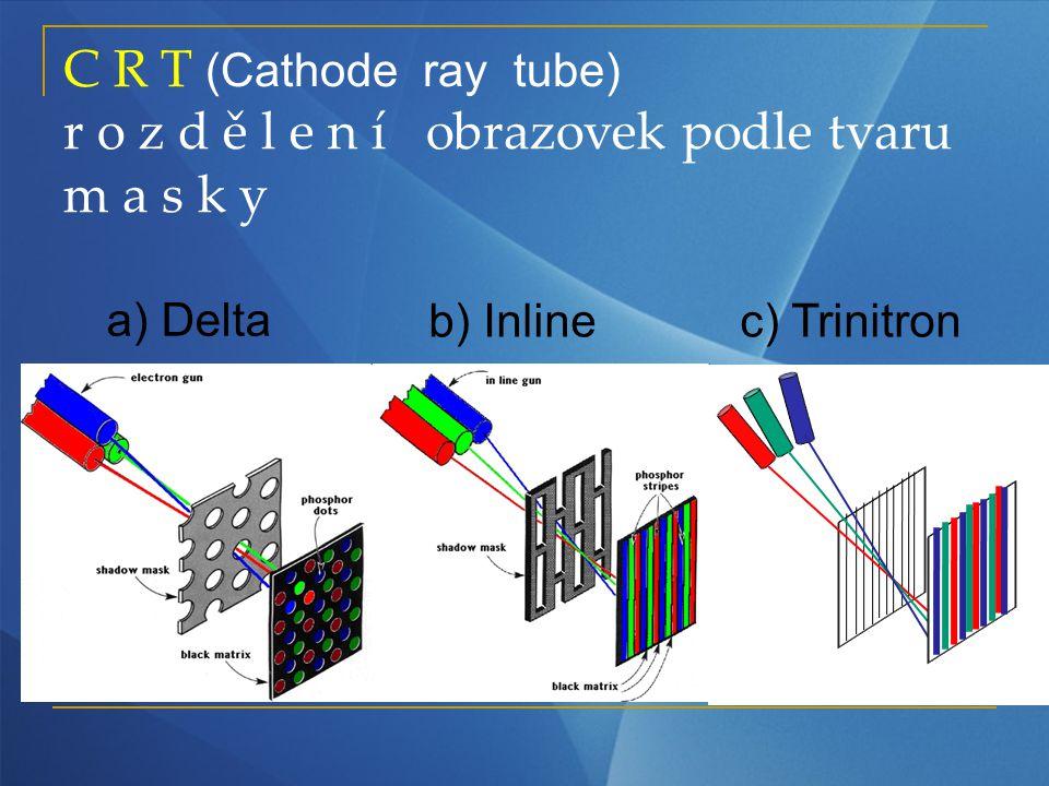 C R T (Cathode ray tube) r o z d ě l e n í obrazovek podle tvaru m a s k y a) Delta b) Inlinec) Trinitron
