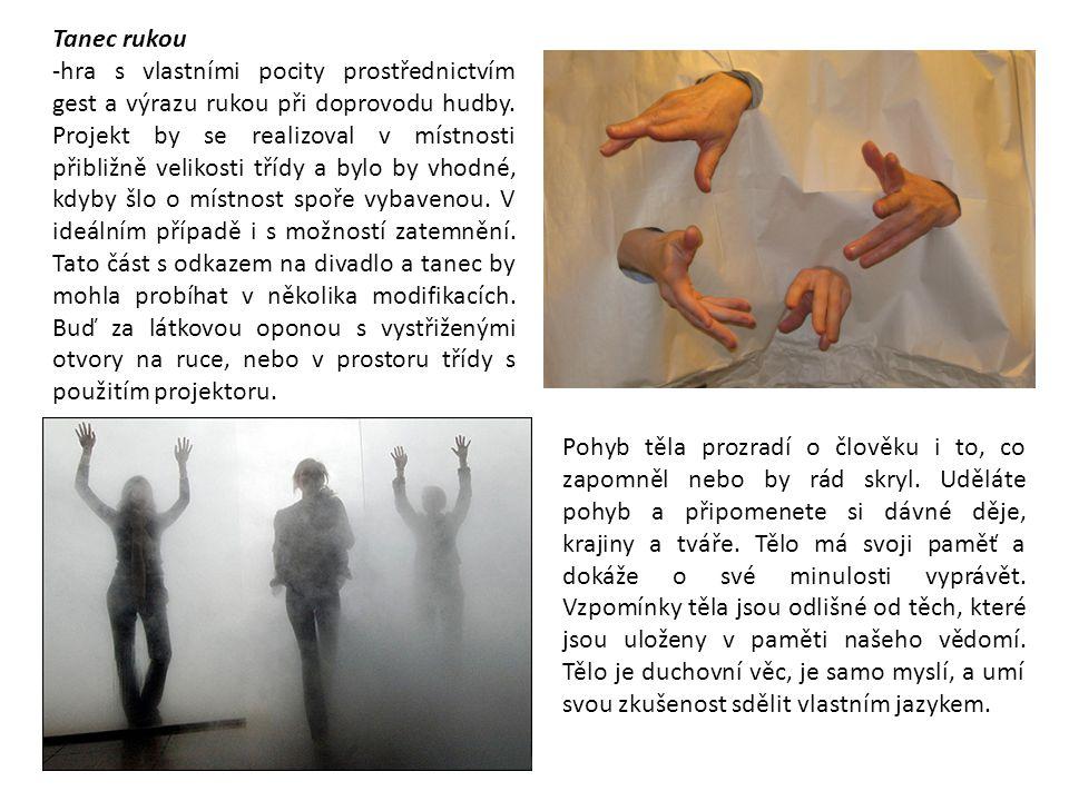 Tanec rukou -hra s vlastními pocity prostřednictvím gest a výrazu rukou při doprovodu hudby. Projekt by se realizoval v místnosti přibližně velikosti