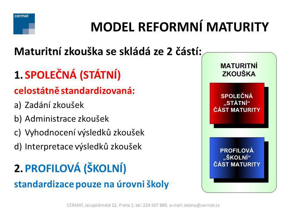 MODEL REFORMNÍ MATURITY Maturitní zkouška se skládá ze 2 částí: 1.SPOLEČNÁ (STÁTNÍ) celostátně standardizovaná: a)Zadání zkoušek b)Administrace zkouše