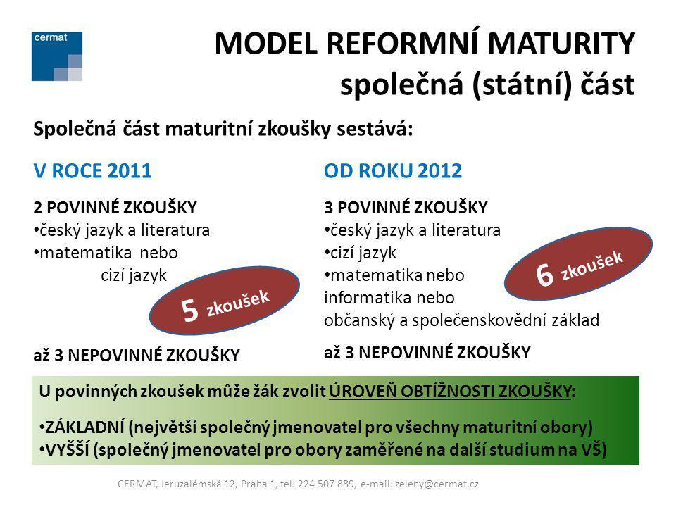 MODEL REFORMNÍ MATURITY společná (státní) část Společná část maturitní zkoušky sestává: V ROCE 2011 2 POVINNÉ ZKOUŠKY český jazyk a literatura matemat