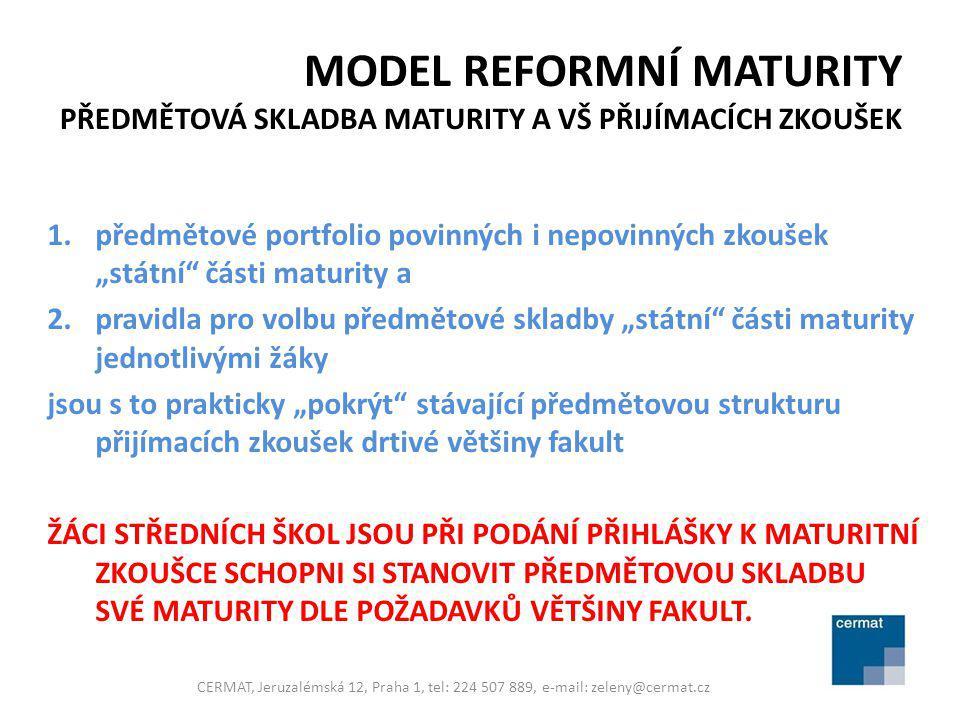 """MODEL REFORMNÍ MATURITY PŘEDMĚTOVÁ SKLADBA MATURITY A VŠ PŘIJÍMACÍCH ZKOUŠEK 1.předmětové portfolio povinných i nepovinných zkoušek """"státní"""" části mat"""