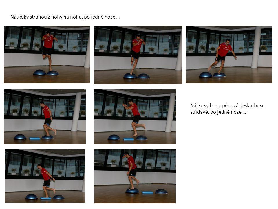 Obounož: prošlapávání-výskok-fix, Jednonož: prošlapávání, 5 prošlápnutí-výskok-fix, poskoky: vpřed-vzad (při skoku vzad jdou ruce zepředu dozadu!), poskoky do stran, 5 poskoků-výskok -fix- nahození … Trampolína: poskoky: vpřed-vzad střídavě, po jedné noze (při skoku vzad jdou ruce zepředu dozadu!) poskoky do stran: střídavě, po jedné noze 5 poskoků-výskok -fix- nahození Měkký doskok do pokrčeného kolene, dopad vždy na celou plochu plosky chodidla ( ne na špičku!!!, raději na patu)