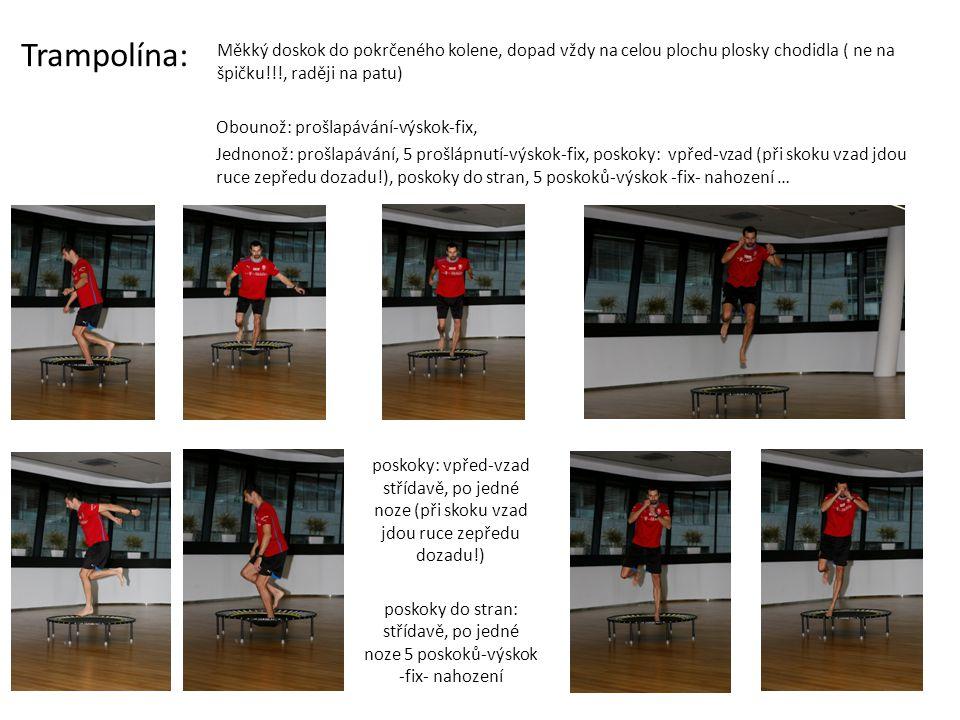 poskoky mezi trampolínami: vpřed-vzad, do stran, střídavě, po jedné noze + (nahození na vnější nohu, nahození na vnitřní nohu) … poskoky mezi trampolínami: vpřed-vzad střídavě, po jedné noze + (fix, nahození)