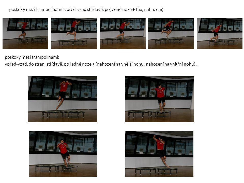 Poskoky mezi trampolína-bosu-trampolína: střídavě, po jedné noze, čelem, stranou + nahození na vnější nohu, vnitřní nohu … Stoj na míči obounož: podřep-fix, dřepy-fix, nahazování míče do ruky … (BEZPEČNOST A ZÁCHRANA!!!)