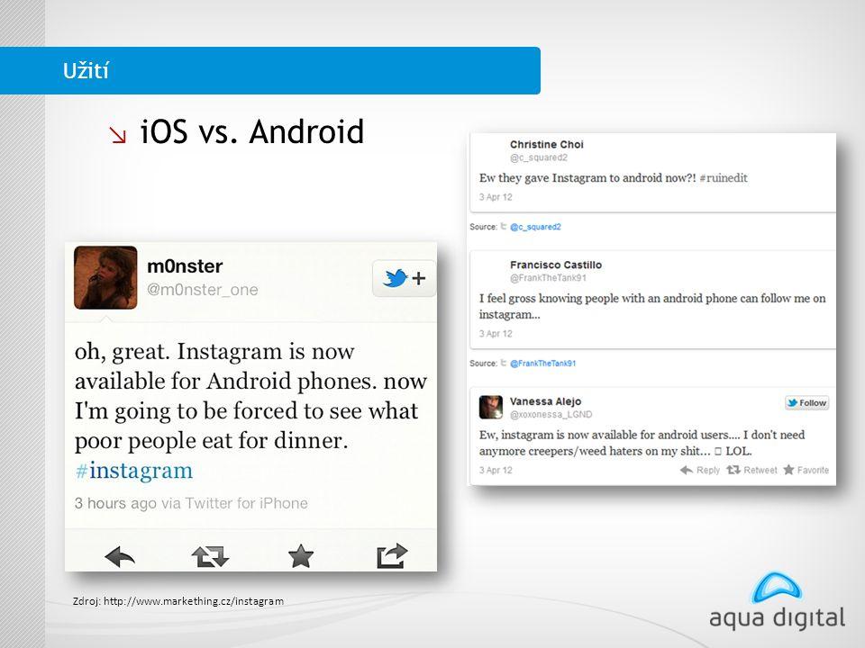 ↘ iOS vs. Android Užití Zdroj: http://www.markething.cz/instagram