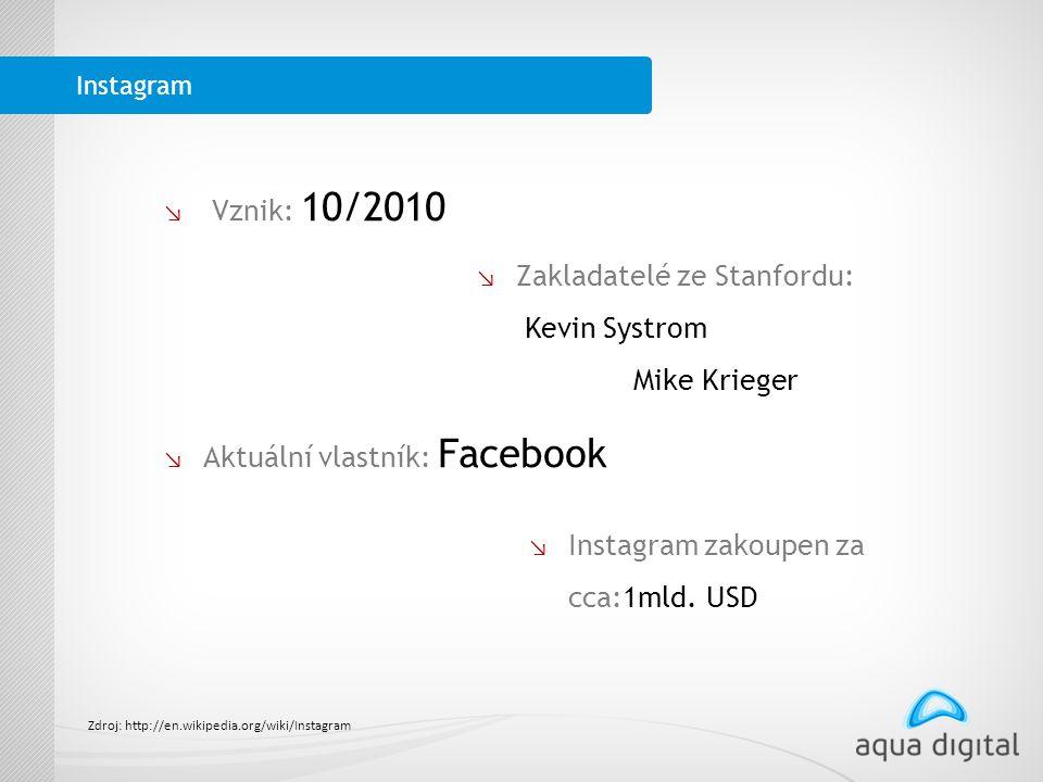 ↘ lVznik: 10/2010 ↘ Zakladatelé ze Stanfordu: Kevin Systrom Mike Krieger ↘ Aktuální vlastník: Facebook ↘ Instagram zakoupen za cca:1mld.