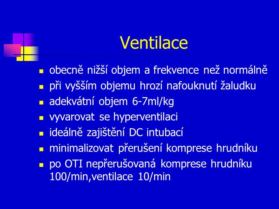 Ventilace obecně nižší objem a frekvence než normálně při vyšším objemu hrozí nafouknutí žaludku adekvátní objem 6-7ml/kg vyvarovat se hyperventilaci ideálně zajištění DC intubací minimalizovat přerušení komprese hrudníku po OTI nepřerušovaná komprese hrudníku 100/min,ventilace 10/min