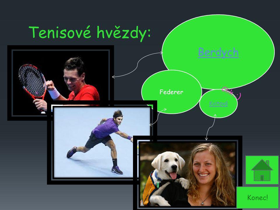 Tenisové hvězdy: Berdych Kvitová Federer Clik..; ) Konec!