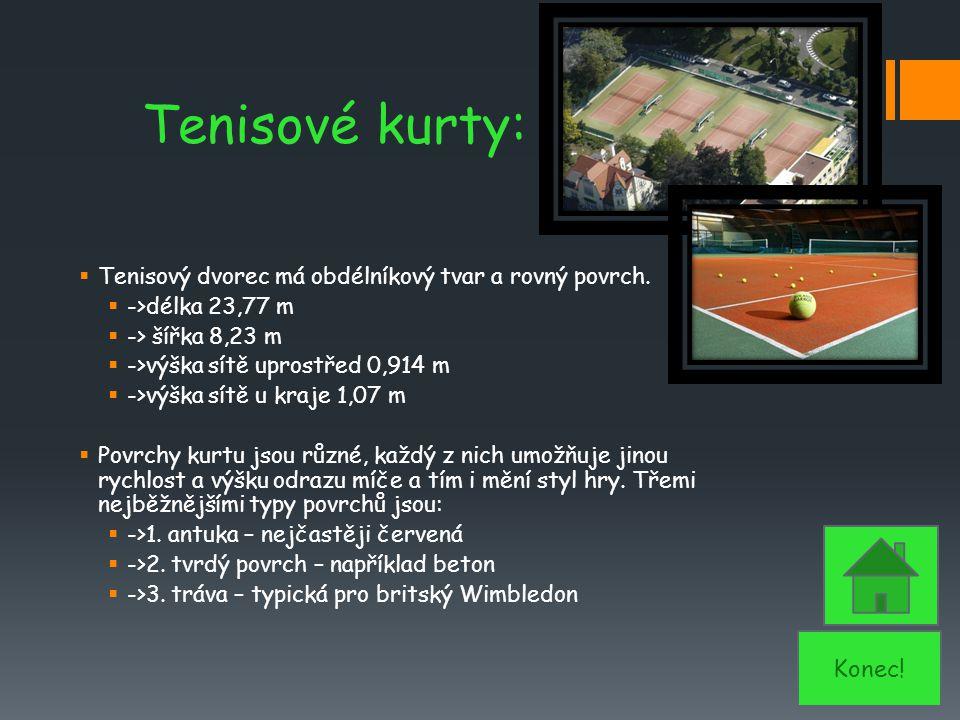 Tenisové kurty:  Tenisový dvorec má obdélníkový tvar a rovný povrch.  ->délka 23,77 m  -> šířka 8,23 m  ->výška sítě uprostřed 0,914 m  ->výška s