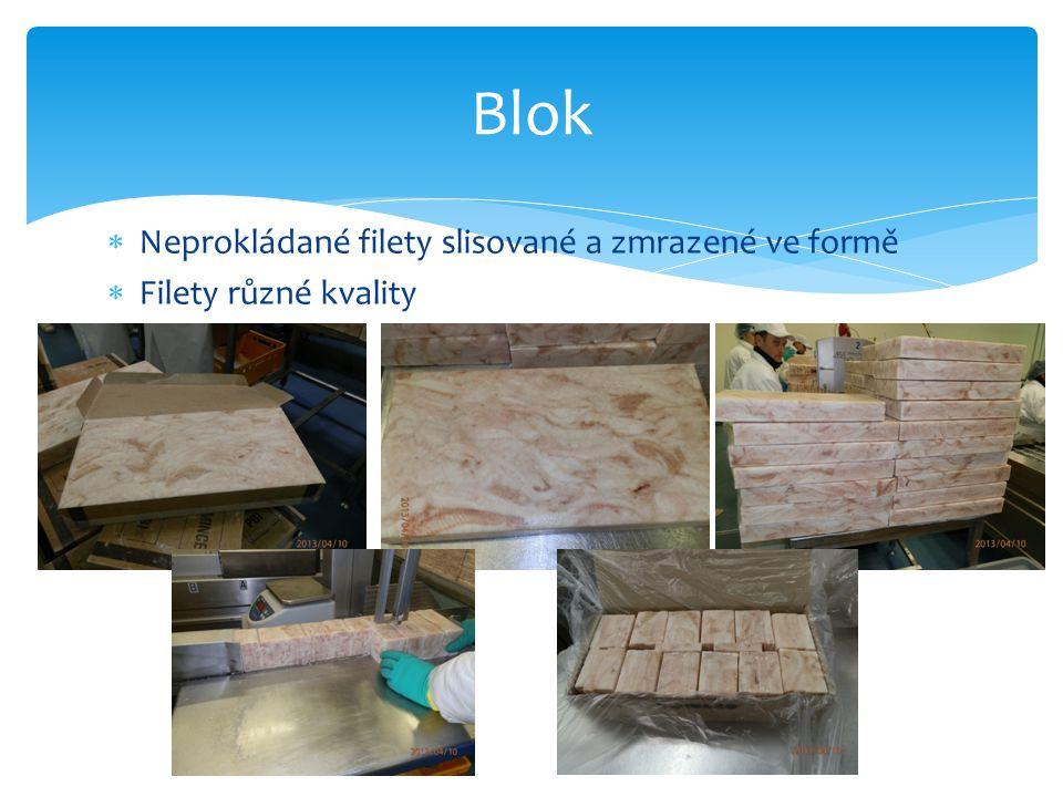  Neprokládané filety slisované a zmrazené ve formě  Filety různé kvality Blok