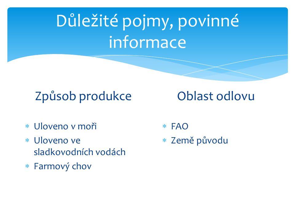 Důležité pojmy, povinné informace Způsob produkce  Uloveno v moři  Uloveno ve sladkovodních vodách  Farmový chov Oblast odlovu  FAO  Země původu
