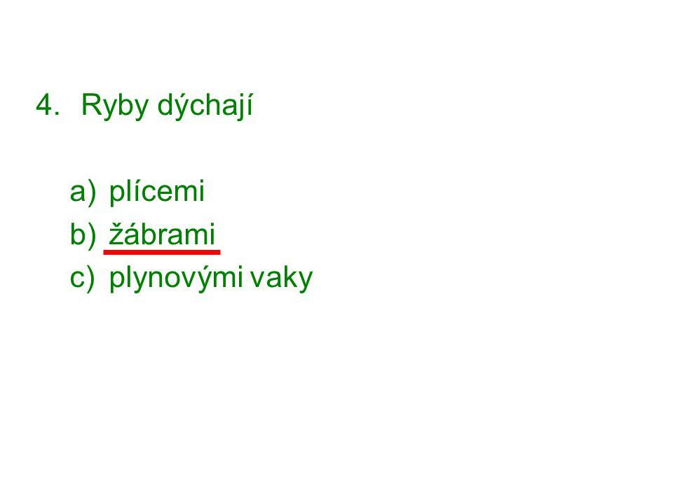 4.Ryby dýchají a)plícemi b)žábrami c)plynovými vaky