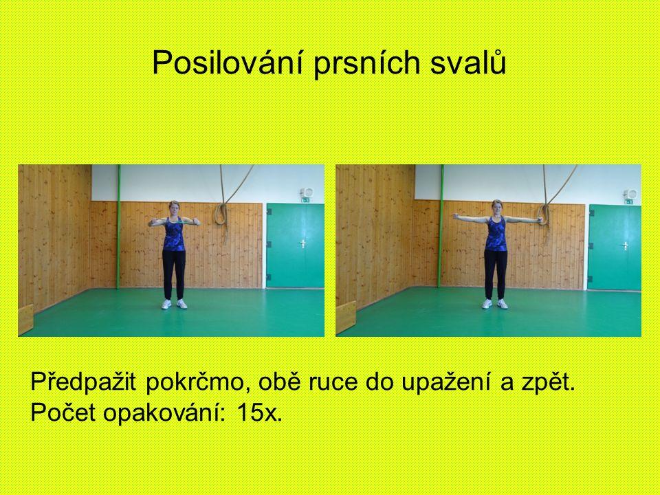 Posilování prsních svalů Předpažit pokrčmo, obě ruce do upažení a zpět. Počet opakování: 15x.