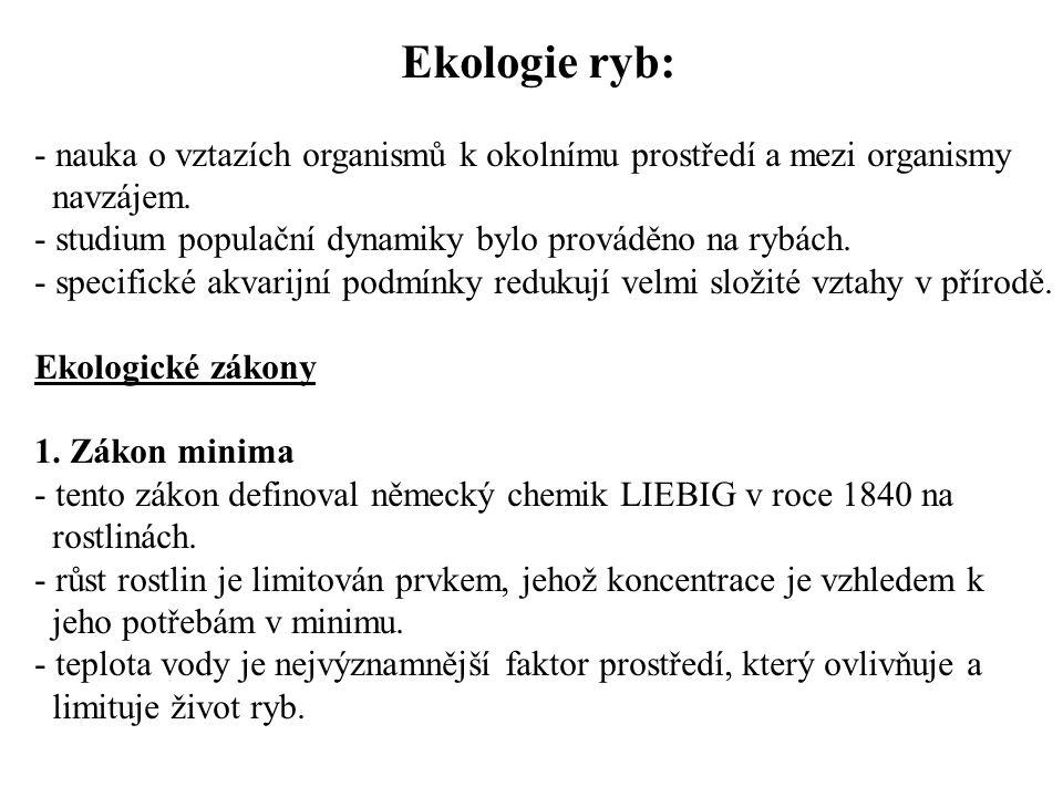 Ekologie ryb: - nauka o vztazích organismů k okolnímu prostředí a mezi organismy navzájem.