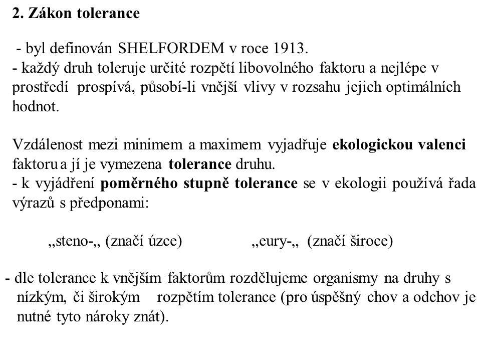 2.Zákon tolerance - byl definován SHELFORDEM v roce 1913.
