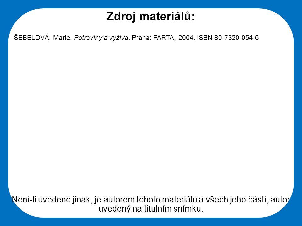 Střední škola Oselce Zdroj materiálů: ŠEBELOVÁ, Marie. Potraviny a výživa. Praha: PARTA, 2004, ISBN 80-7320-054-6 Není-li uvedeno jinak, je autorem to