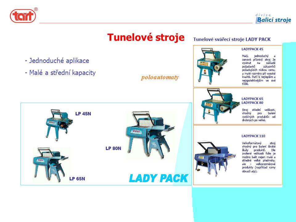 Tunelové stroje poloautomaty - Jednoduché aplikace - Malé a střední kapacity