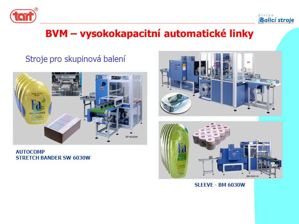 Stroje pro skupinová balení COMPACTA AUTOCOMP STRETCH BANDER SW 6030W SLEEVE - BM 6030W BVM – vysokokapacitní automatické linky