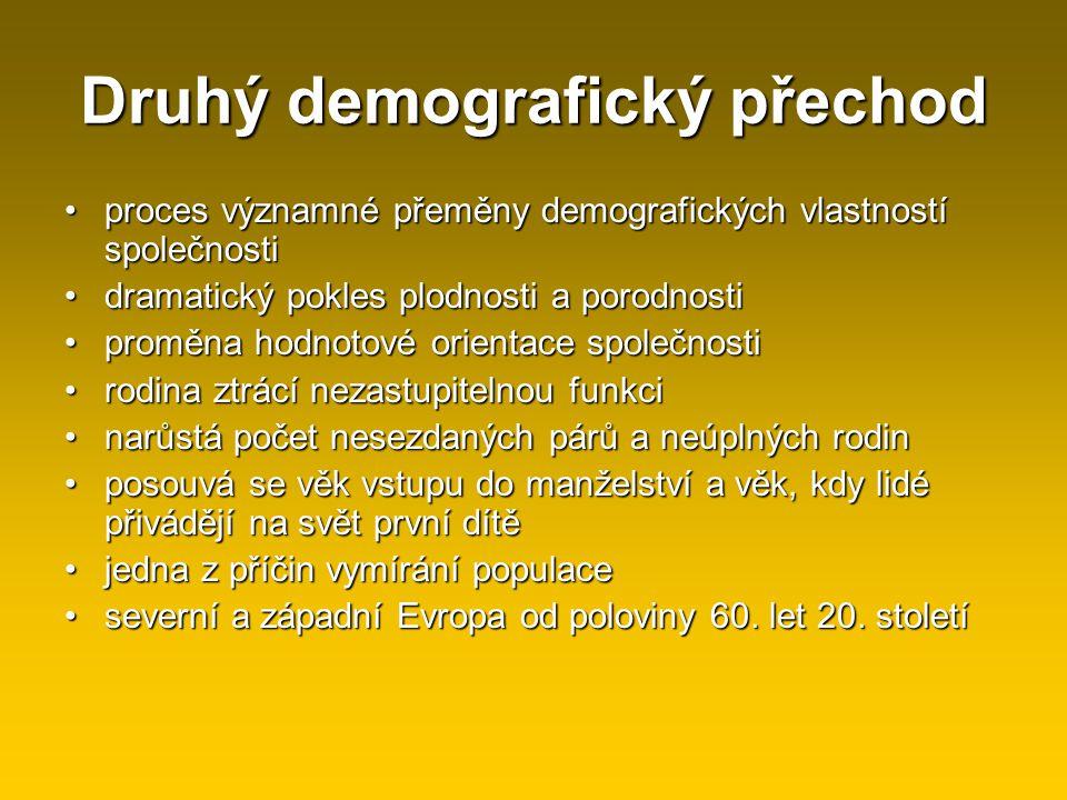 Druhý demografický přechod proces významné přeměny demografických vlastností společnostiproces významné přeměny demografických vlastností společnosti