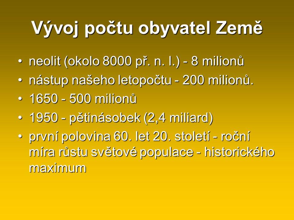 Vývoj počtu obyvatel Země neolit (okolo 8000 př. n. l.) - 8 milionůneolit (okolo 8000 př. n. l.) - 8 milionů nástup našeho letopočtu - 200 milionů.nás