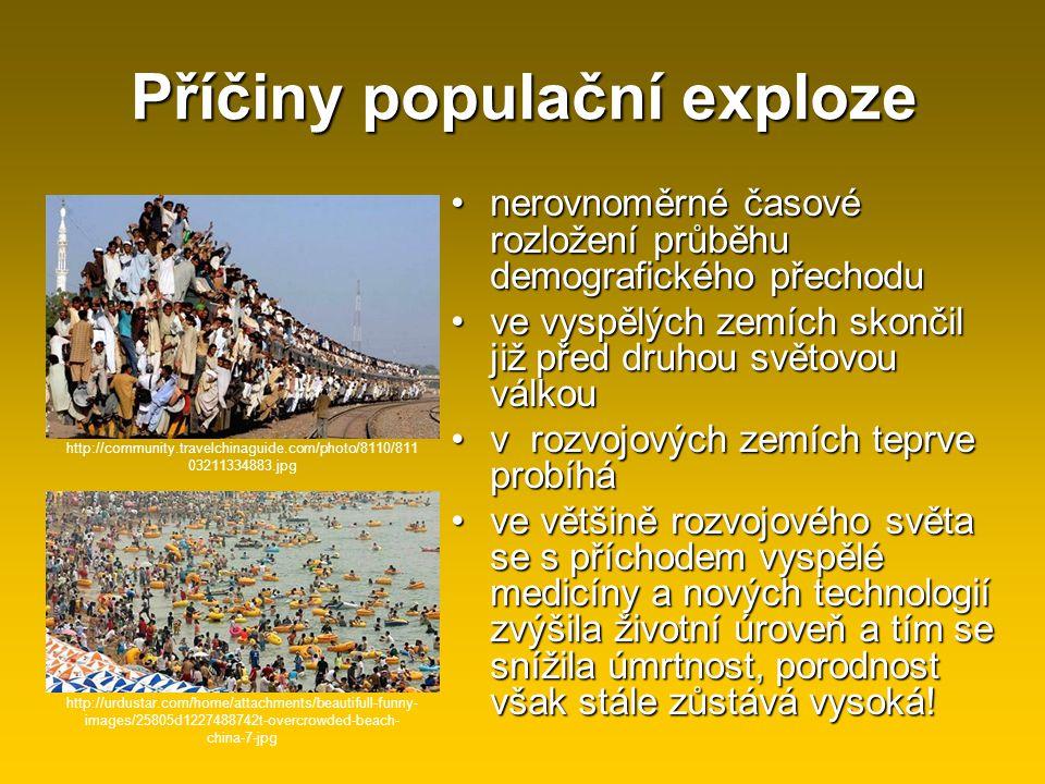 Příčiny populační exploze nerovnoměrné časové rozložení průběhu demografického přechodunerovnoměrné časové rozložení průběhu demografického přechodu v