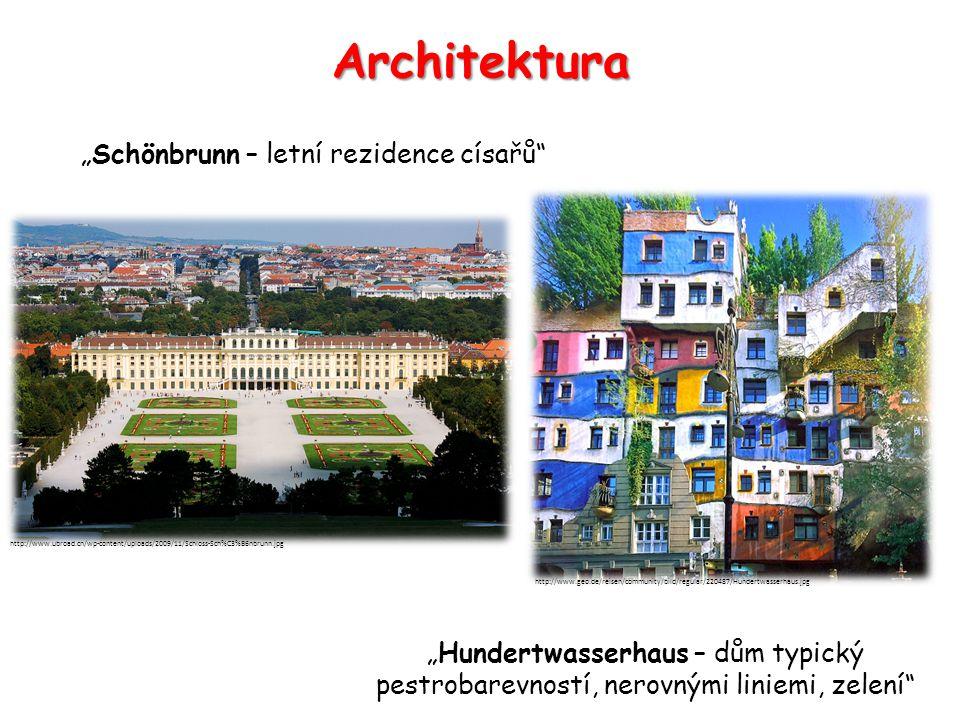"Architektura ""Hundertwasserhaus – dům typický pestrobarevností, nerovnými liniemi, zelení"" http://www.geo.de/reisen/community/bild/regular/220487/Hund"