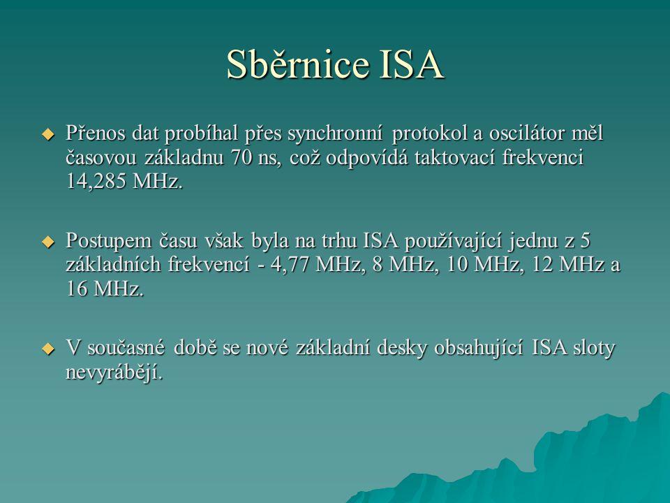 Sběrnice ISA  Přenos dat probíhal přes synchronní protokol a oscilátor měl časovou základnu 70 ns, což odpovídá taktovací frekvenci 14,285 MHz.  Pos