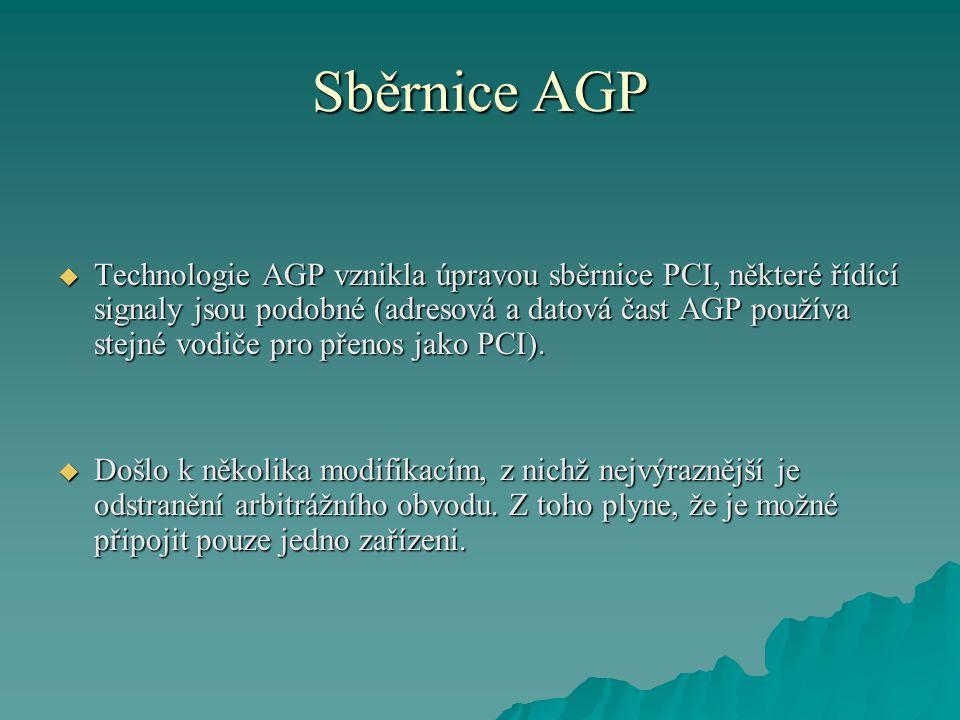 Sběrnice AGP  Technologie AGP vznikla úpravou sběrnice PCI, některé řídící signaly jsou podobné (adresová a datová čast AGP používa stejné vodiče pro přenos jako PCI).