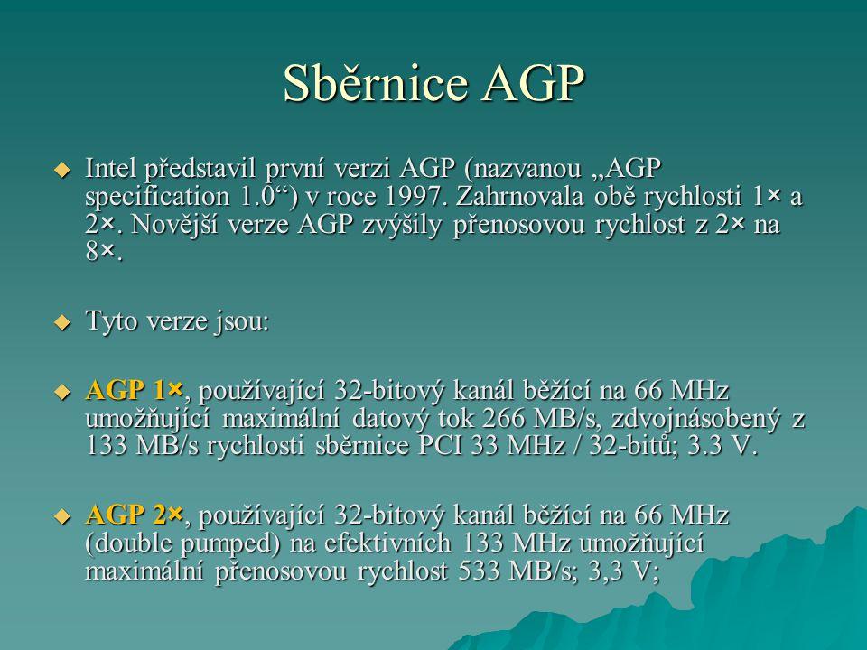 """Sběrnice AGP  Intel představil první verzi AGP (nazvanou """"AGP specification 1.0"""") v roce 1997. Zahrnovala obě rychlosti 1× a 2×. Novější verze AGP zv"""