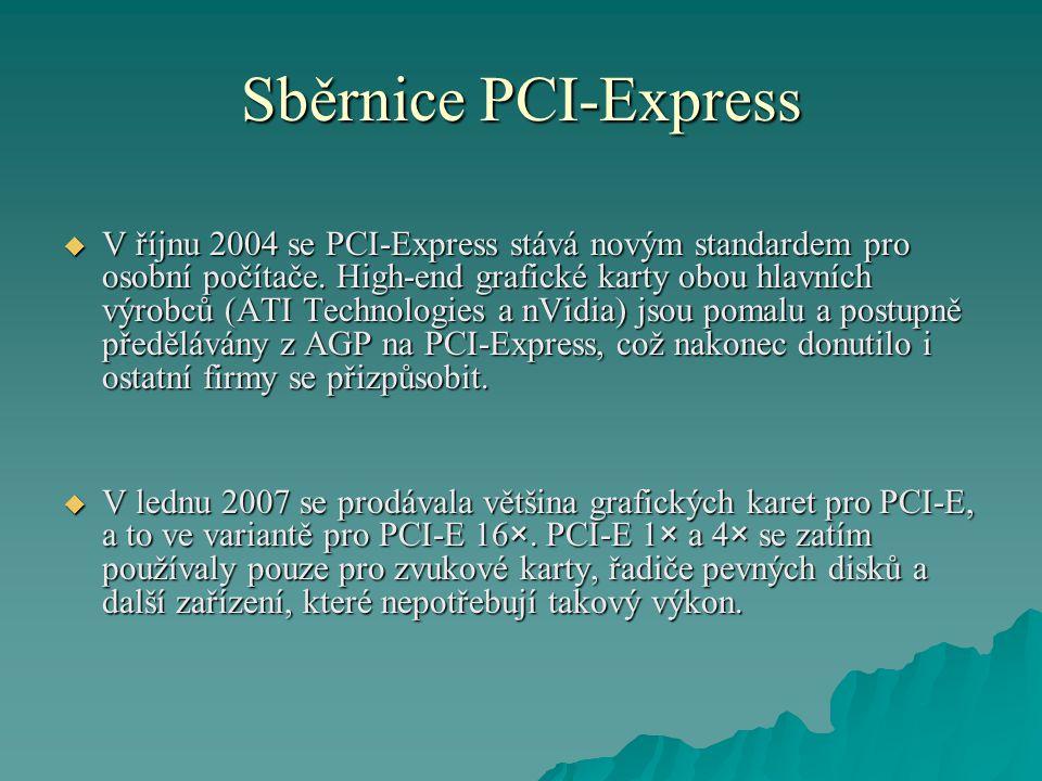 Sběrnice PCI-Express  V říjnu 2004 se PCI-Express stává novým standardem pro osobní počítače. High-end grafické karty obou hlavních výrobců (ATI Tech