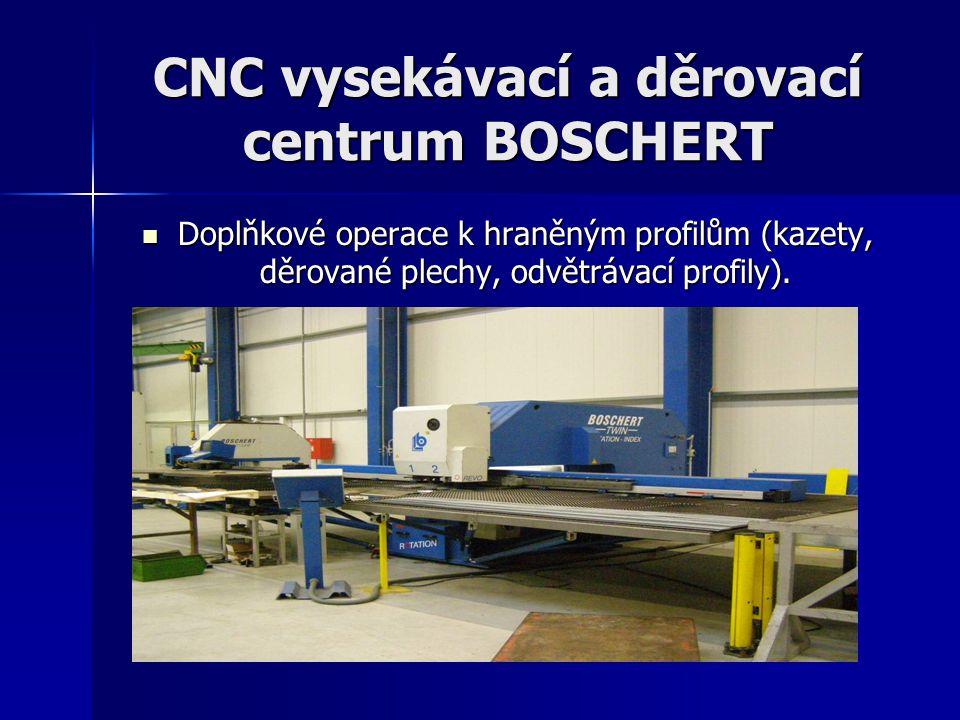 CNC vysekávací a děrovací centrum BOSCHERT Doplňkové operace k hraněným profilům (kazety, děrované plechy, odvětrávací profily). Doplňkové operace k h