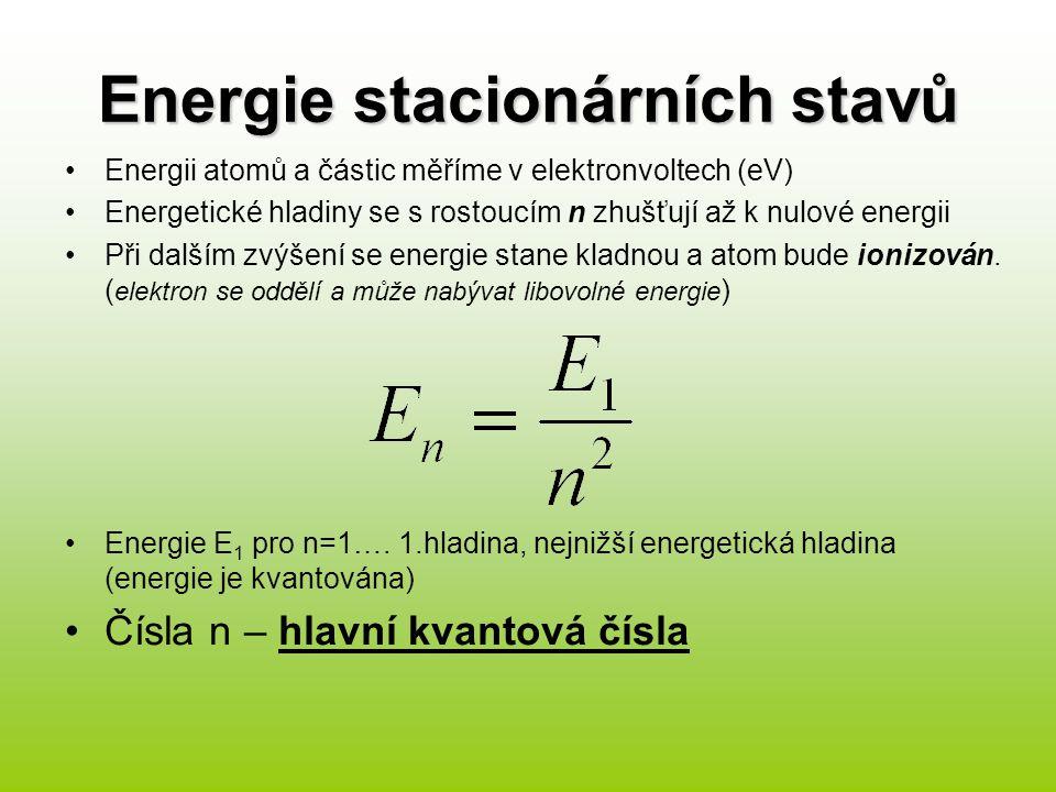Energie stacionárních stavů Energii atomů a částic měříme v elektronvoltech (eV) Energetické hladiny se s rostoucím n zhušťují až k nulové energii Při dalším zvýšení se energie stane kladnou a atom bude ionizován.