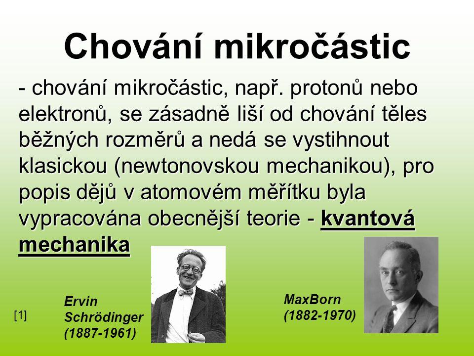 - chování mikročástic, např.