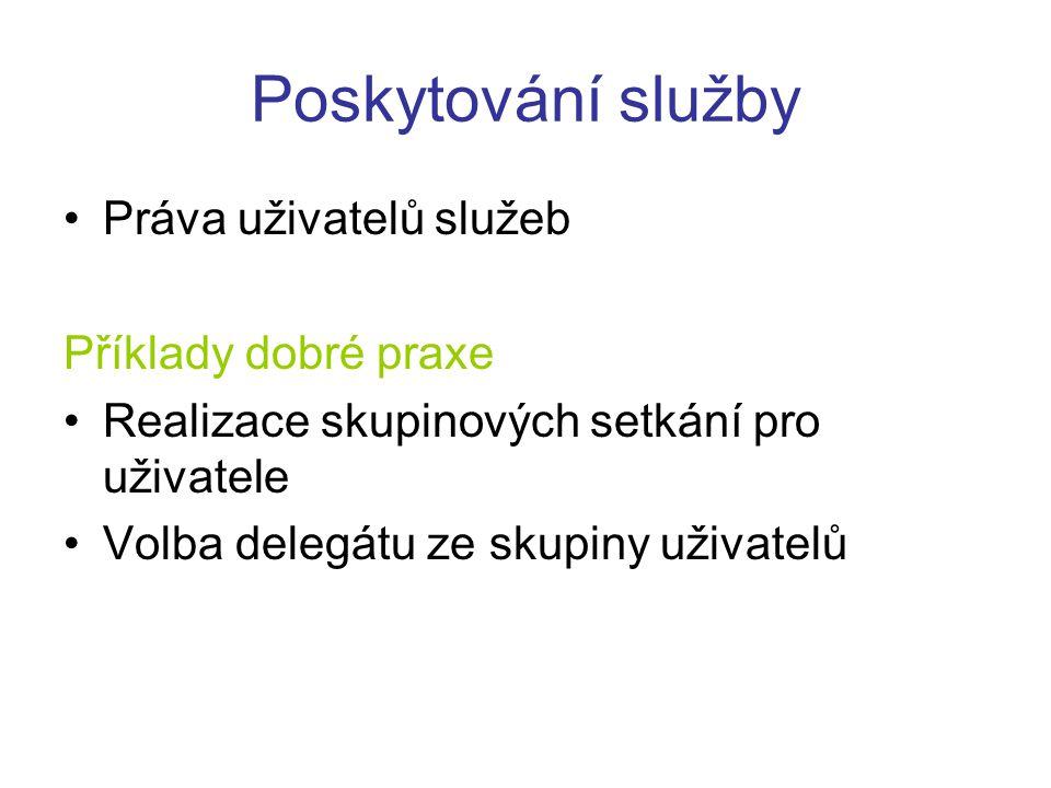 Poskytování služby Práva uživatelů služeb Příklady dobré praxe Realizace skupinových setkání pro uživatele Volba delegátu ze skupiny uživatelů