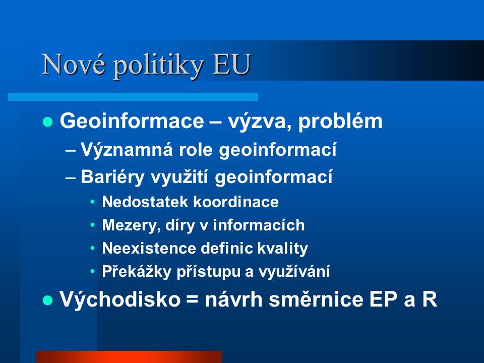 Nové politiky EU Geoinformace – výzva, problém –Významná role geoinformací –Bariéry využití geoinformací Nedostatek koordinace Mezery, díry v informacích Neexistence definic kvality Překážky přístupu a využívání Východisko = návrh směrnice EP a R