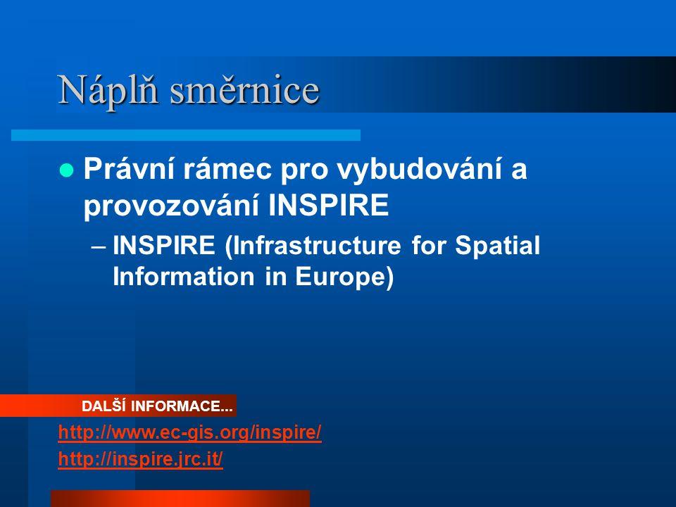 Náplň směrnice Právní rámec pro vybudování a provozování INSPIRE –INSPIRE (Infrastructure for Spatial Information in Europe) DALŠÍ INFORMACE...