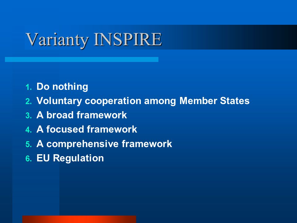 Varianty INSPIRE 1. Do nothing 2. Voluntary cooperation among Member States 3.