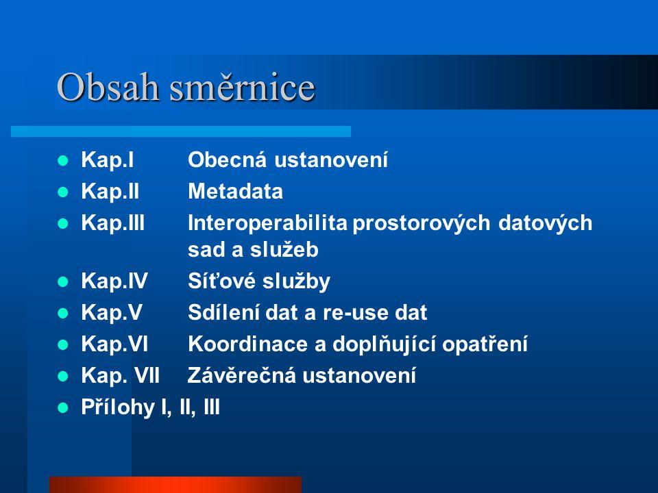 Obsah směrnice Kap.IObecná ustanovení Kap.IIMetadata Kap.IIIInteroperabilita prostorových datových sad a služeb Kap.IVSíťové služby Kap.VSdílení dat a re-use dat Kap.VIKoordinace a doplňující opatření Kap.