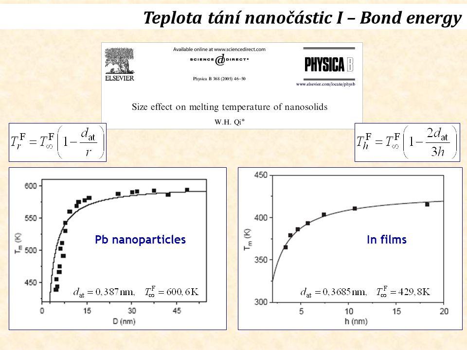Teplota tání nanočástic I – Bond energy Pb nanoparticlesIn films