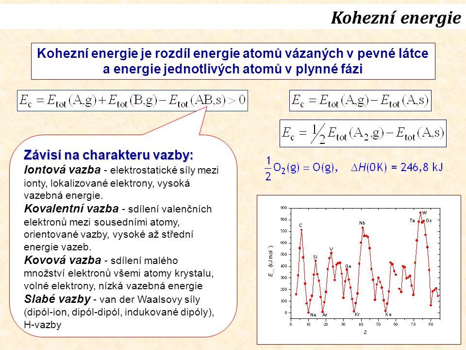 Kohezní energie je rozdíl energie atomů vázaných v pevné látce a energie jednotlivých atomů v plynné fázi Závisí na charakteru vazby: Iontová vazba - elektrostatické síly mezi ionty, lokalizované elektrony, vysoká vazebná energie.