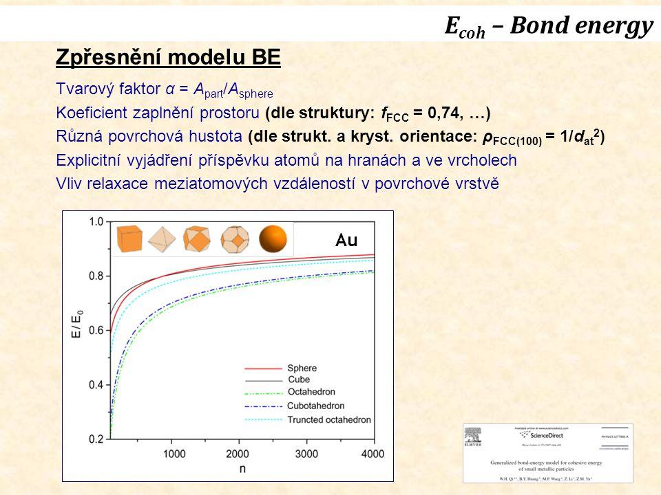 Zpřesnění modelu BE Tvarový faktor α = A part /A sphere Koeficient zaplnění prostoru (dle struktury: f FCC = 0,74, …) Různá povrchová hustota (dle strukt.