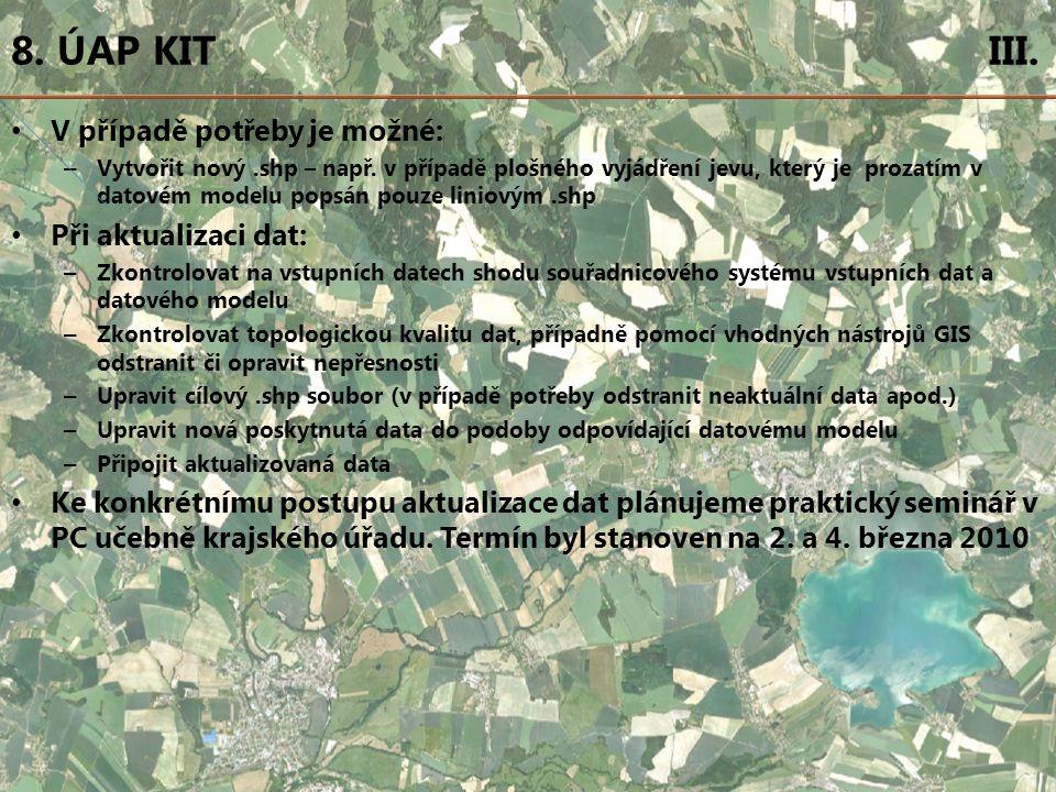 8. ÚAP KIT III. V případě potřeby je možné: – Vytvořit nový.shp – např.