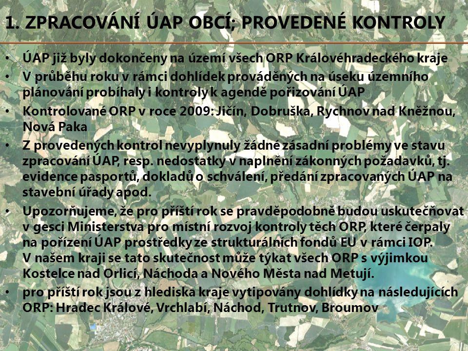 1. ZPRACOVÁNÍ ÚAP OBCÍ; PROVEDENÉ KONTROLY ÚAP již byly dokončeny na území všech ORP Královéhradeckého kraje V průběhu roku v rámci dohlídek prováděný