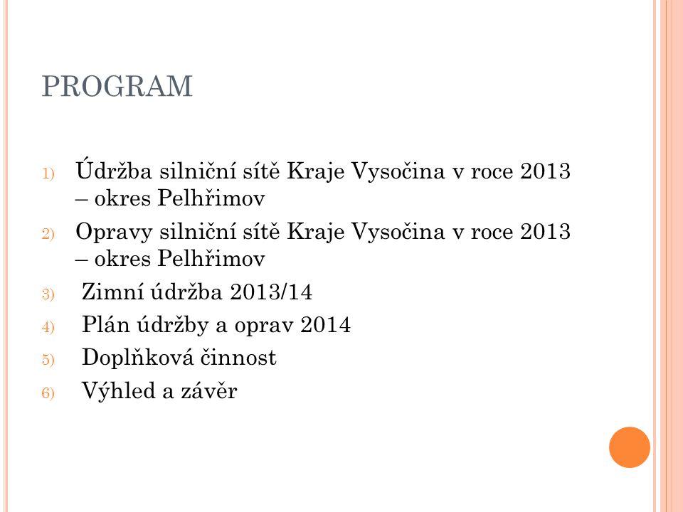 PROGRAM 1) Údržba silniční sítě Kraje Vysočina v roce 2013 – okres Pelhřimov 2) Opravy silniční sítě Kraje Vysočina v roce 2013 – okres Pelhřimov 3) Z