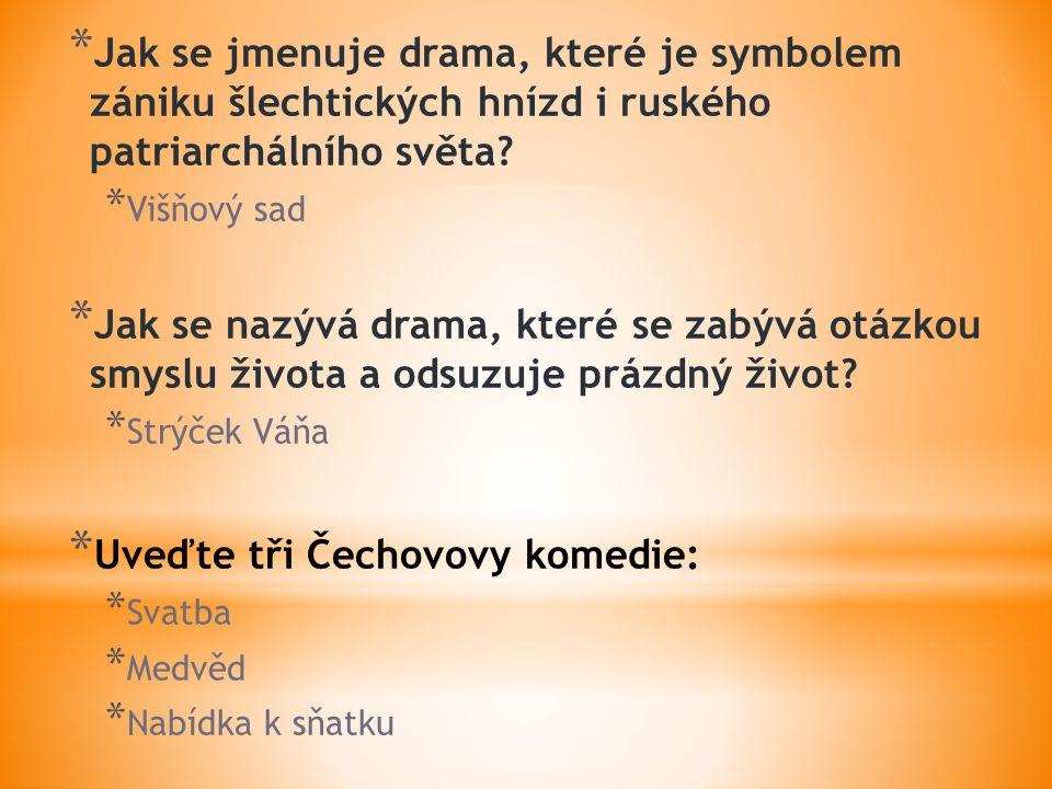 * Jak se jmenuje drama, které je symbolem zániku šlechtických hnízd i ruského patriarchálního světa.