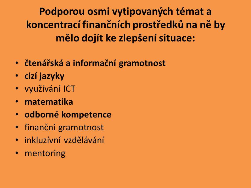 Podporou osmi vytipovaných témat a koncentrací finančních prostředků na ně by mělo dojít ke zlepšení situace: čtenářská a informační gramotnost cizí jazyky využívání ICT matematika odborné kompetence finanční gramotnost inkluzívní vzdělávání mentoring