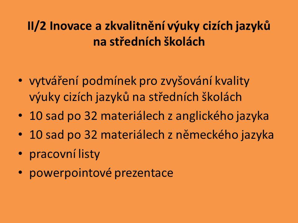IV/2 Inovace a zkvalitnění výuky směřující k rozvoji matematické gramotnosti žáků středních škol Vytváření podmínek pro rozvoj znalostí, schopností a dovedností žáků v oblasti matematické gramotnosti 10 sad po 32 materiálech pracovní listy powerpointové prezentace písemné práce domácí úkoly