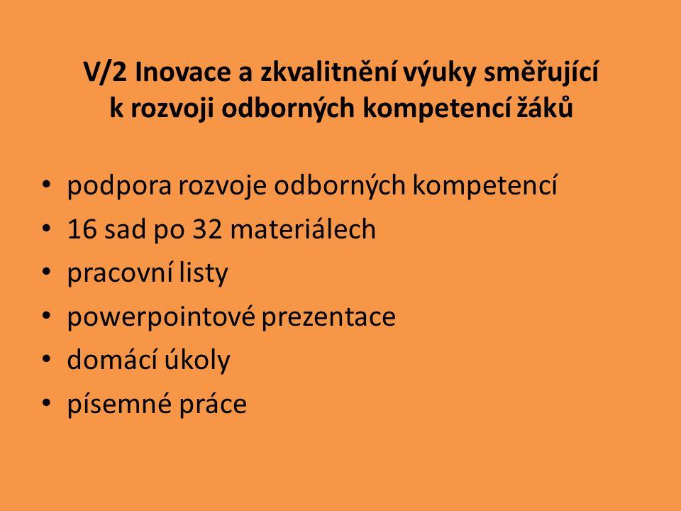 V/2 Inovace a zkvalitnění výuky směřující k rozvoji odborných kompetencí žáků podpora rozvoje odborných kompetencí 16 sad po 32 materiálech pracovní listy powerpointové prezentace domácí úkoly písemné práce