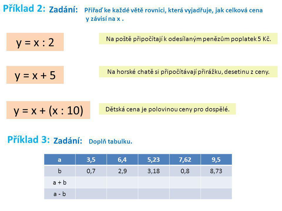 Příklad 2: Zadání: Přiřaď ke každé větě rovnici, která vyjadřuje, jak celková cena y závisí na x. y = x : 2 y = x + 5 y = x + (x : 10) Na poště připoč
