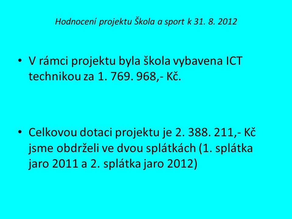 Hodnocení projektu Škola a sport k 31.8.